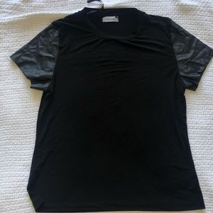 Calvin Klein leather sleeves shirt.